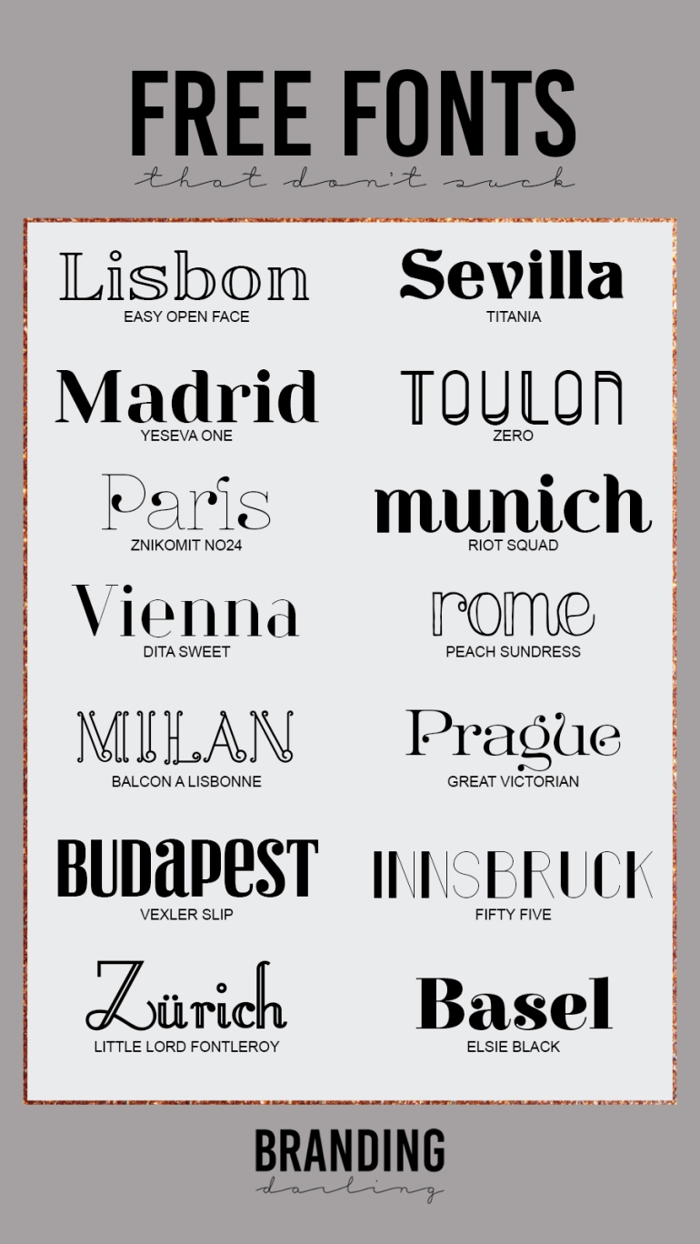14 Fonts free for commercial use that dont suck (overview) - by Branding Darling - web