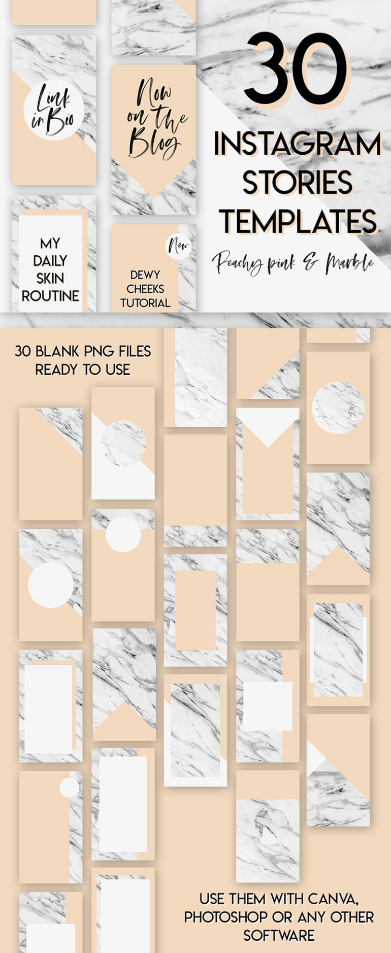 30 Blank Peachy Pink and Marble Instagram Stories Templates - by Branding Darling