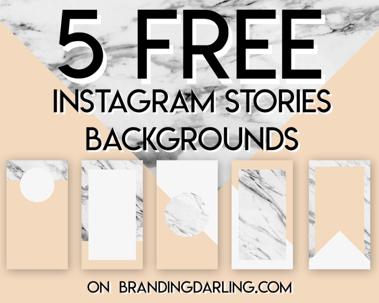 Freebie Peachy Pink and Marble Instagram Stories - five free backgrounds - by Branding Darling